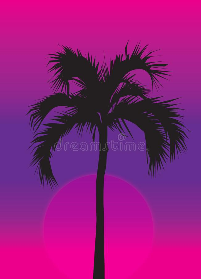 Palm Tree at purple Sunset royalty free stock photography