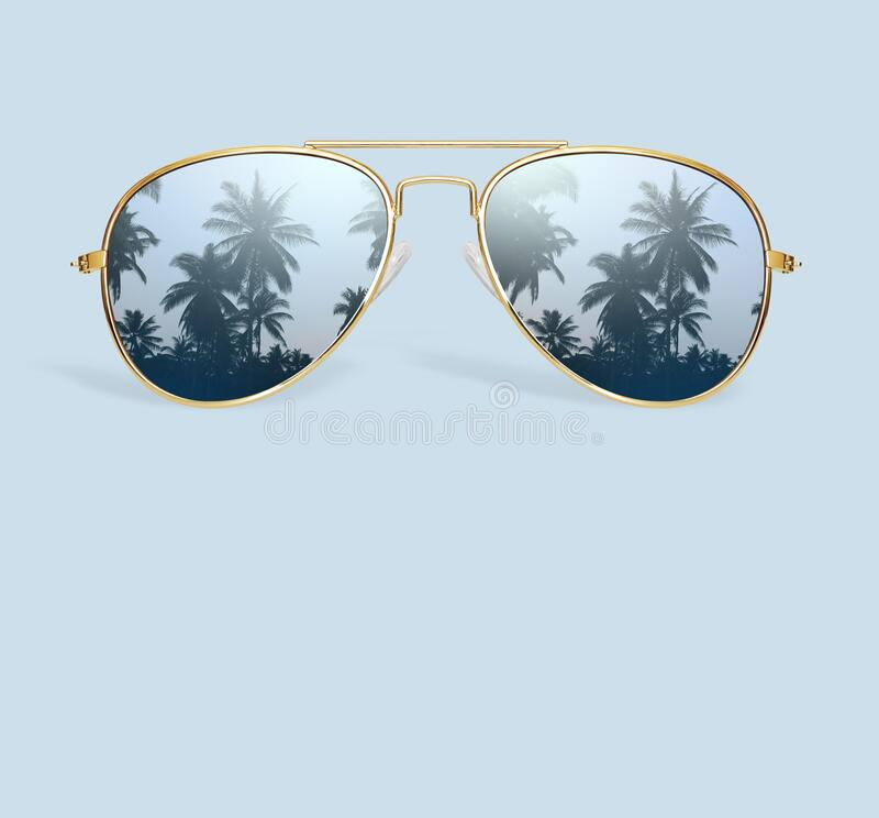 Palm tree reflection in aviator sunglasses isolated stock photos