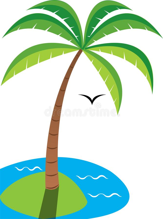 Palm tree by the sea stock photos