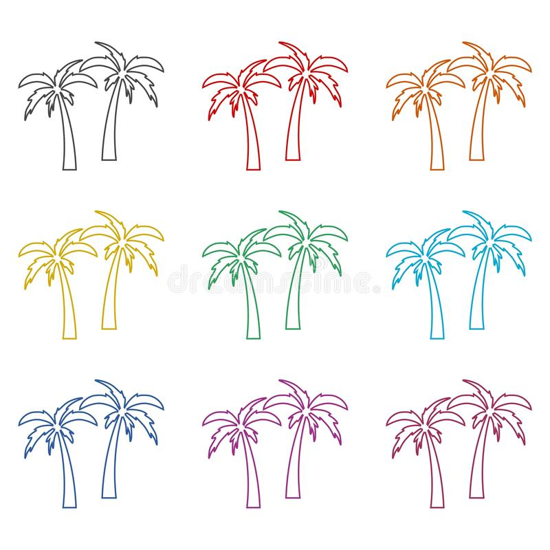 Palm Tree Silhouette icon, color icons set vector illustration