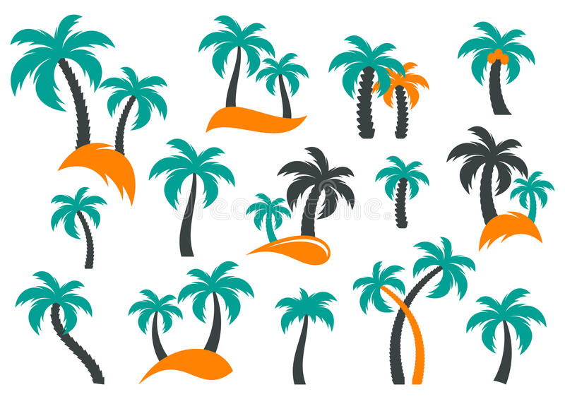 Palm tree silhouette icons stock illustration