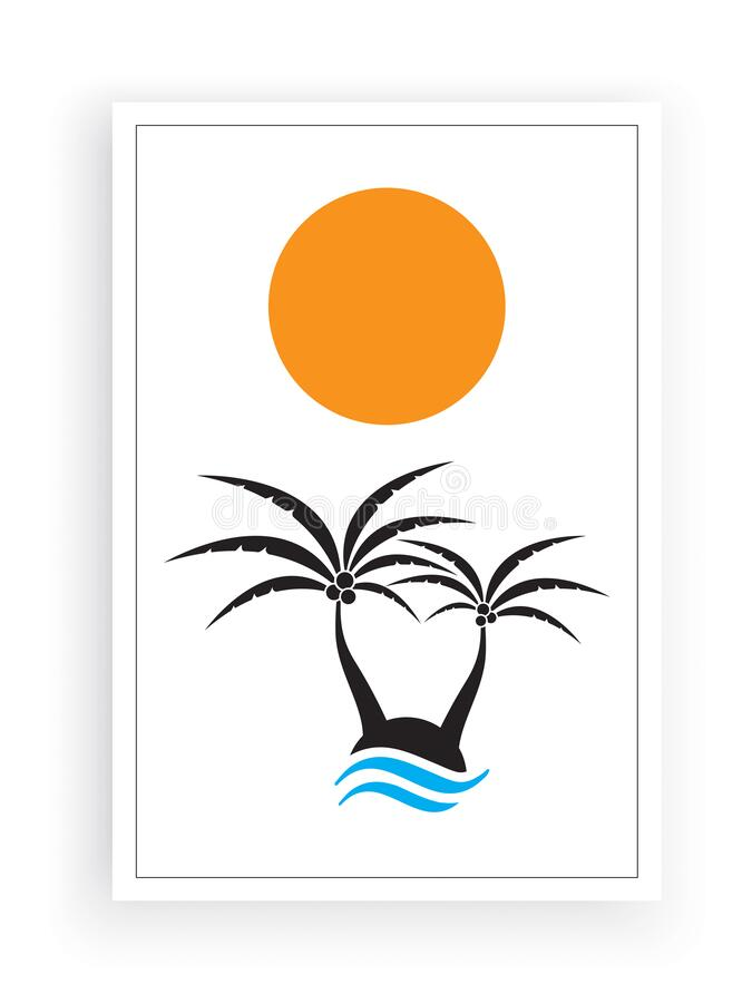 Palm tree silhouettes on little island on sunset / sunrise, vector. Minimalist background design. Poster design. Isolated on white background. Wall art, home royalty free illustration