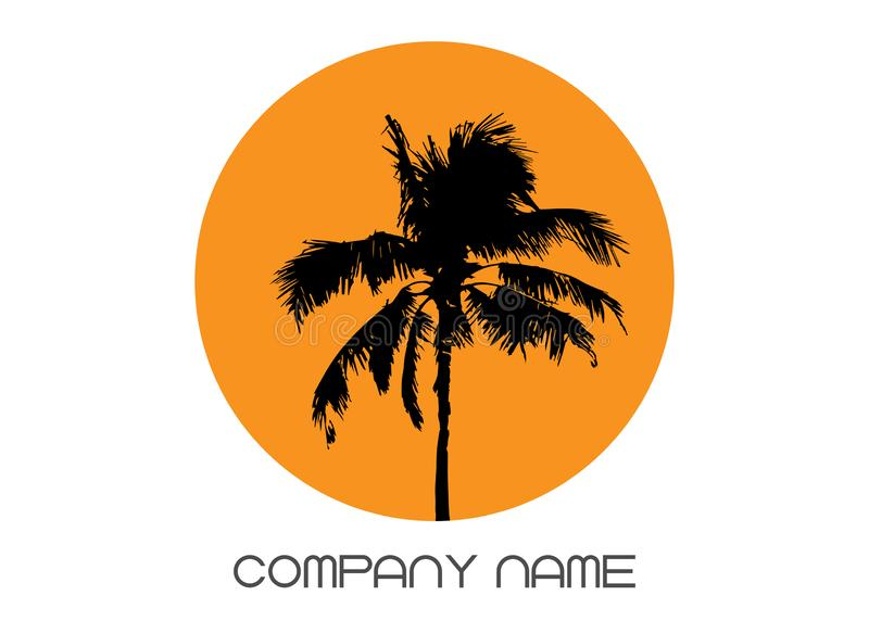 Palm tree summer logo template. Tropical palm tree, black silhouette and outline contours, company name, vector isolated stock illustration
