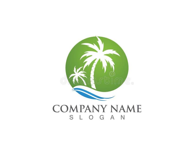 Palm tree summer logo template vector illustration stock illustration