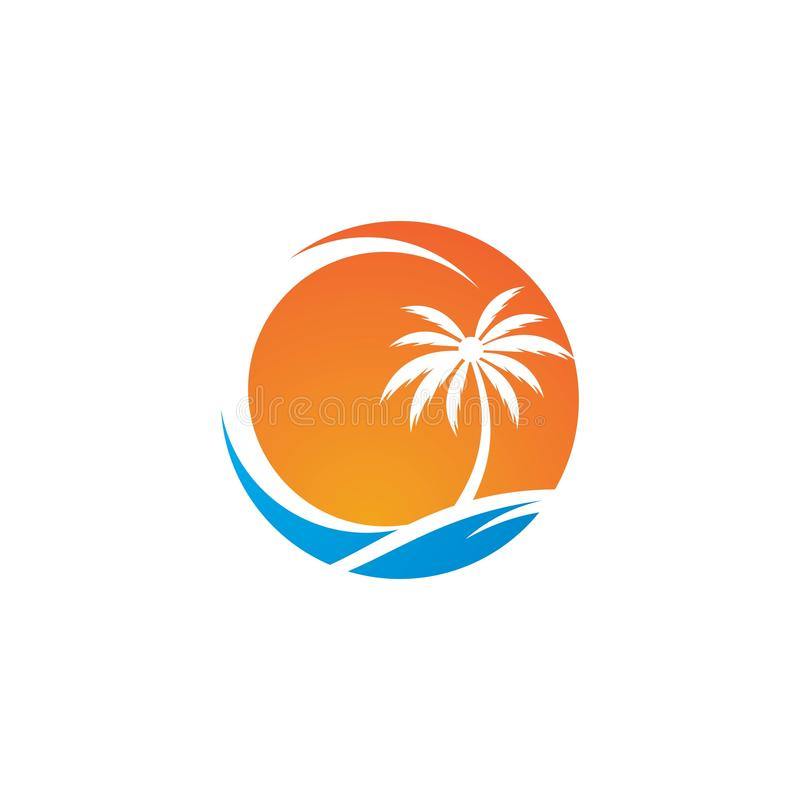 Palm tree summer logo royalty free illustration