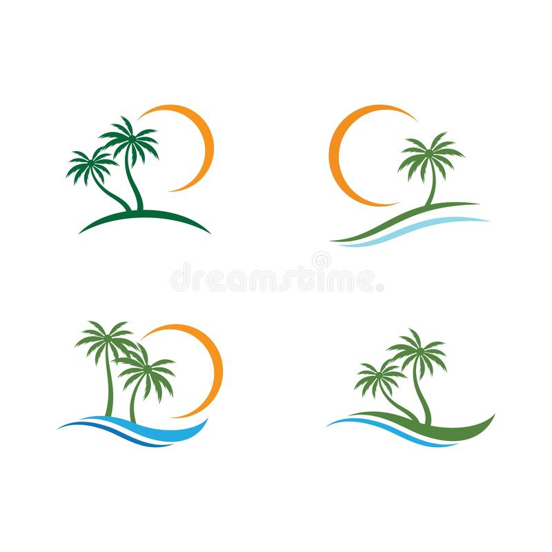 Palm tree summer logo stock illustration