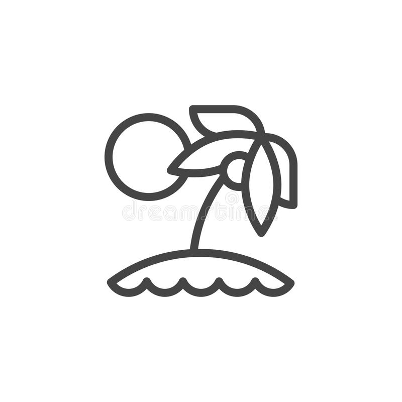 Palm tree and sun icon. Vacation on tropical beach. Caribbean or hawaii island logo. Tourism, holiday, travel theme. Palm tree and sun outline icon. Vacation on royalty free illustration