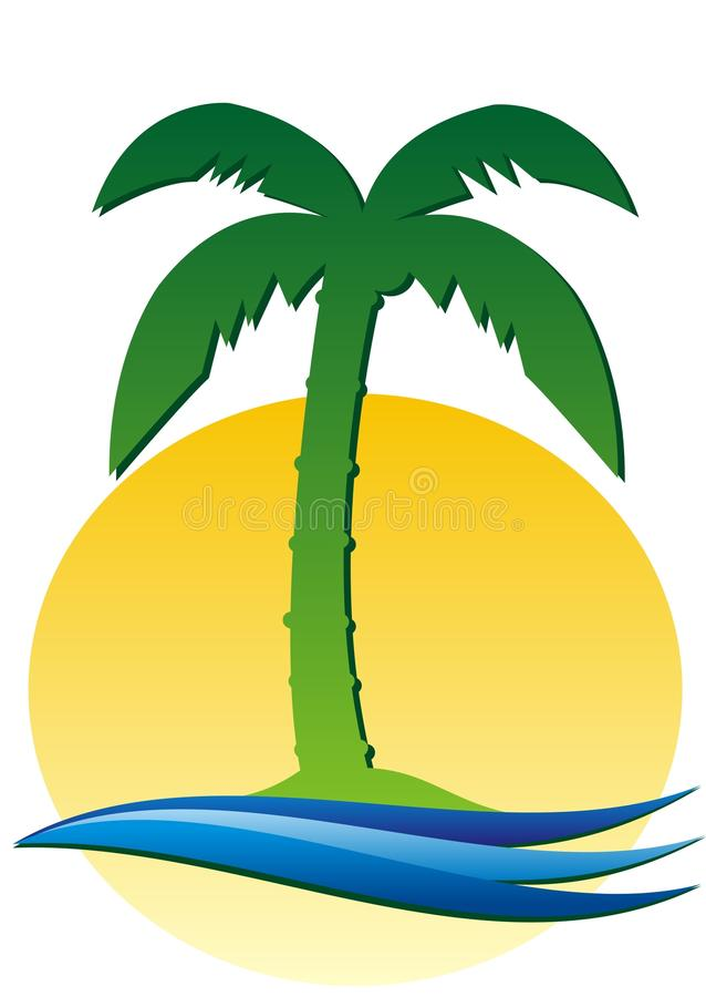 Palm tree, sun and water stock illustration