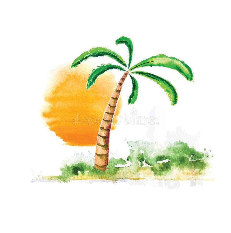 Palm tree and sun, watercolour vector illustration stock illustration