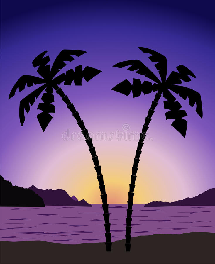 Palm tree at sunrise (sunset). Sunrise with palm tree and islands vector illustration