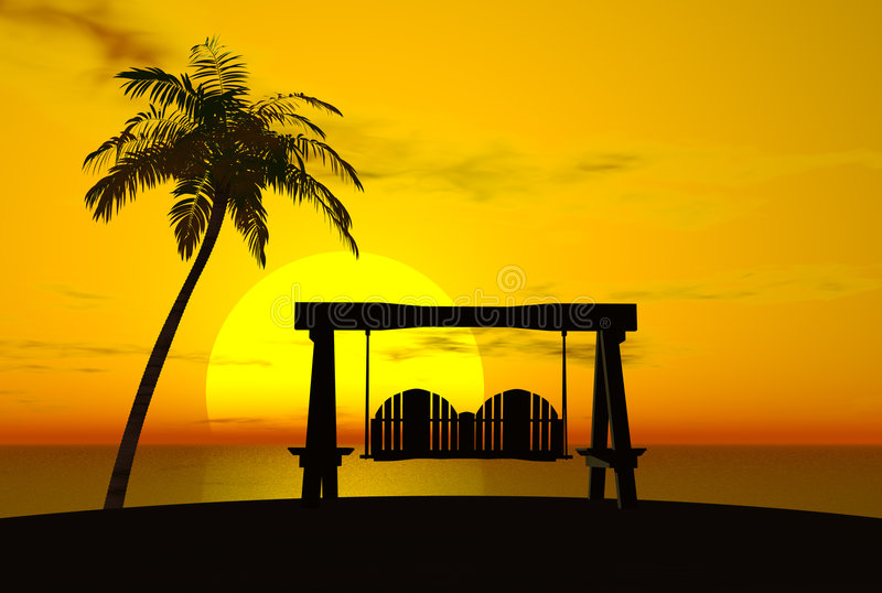 Palm Tree Sunset And Swing Stock Illustration