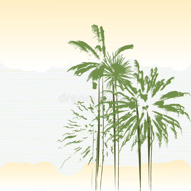 Download Palm trees stock vector. Image of tree, summer, clouds - 12581605