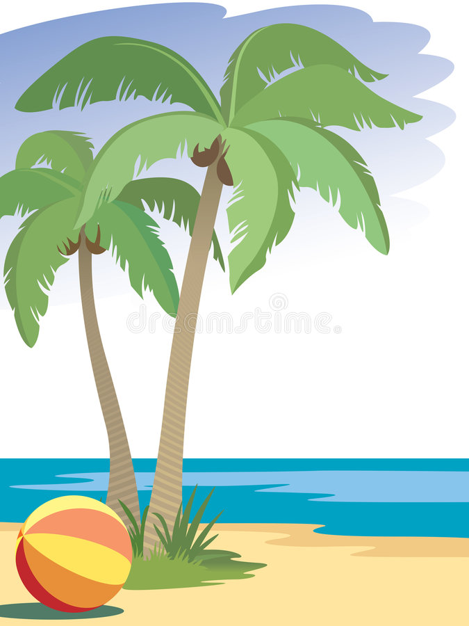 Palm trees. And a ball on a beach royalty free illustration