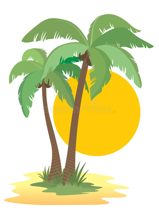 Palm trees. Coconut palm trees, sun, sunset and beach royalty free illustration