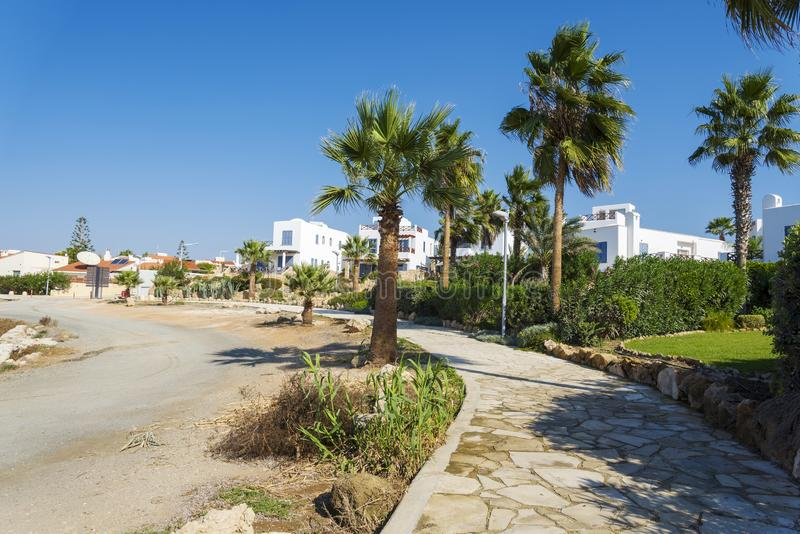 Palm trees along the path and hotels. The concept of leisure and travel stock photography