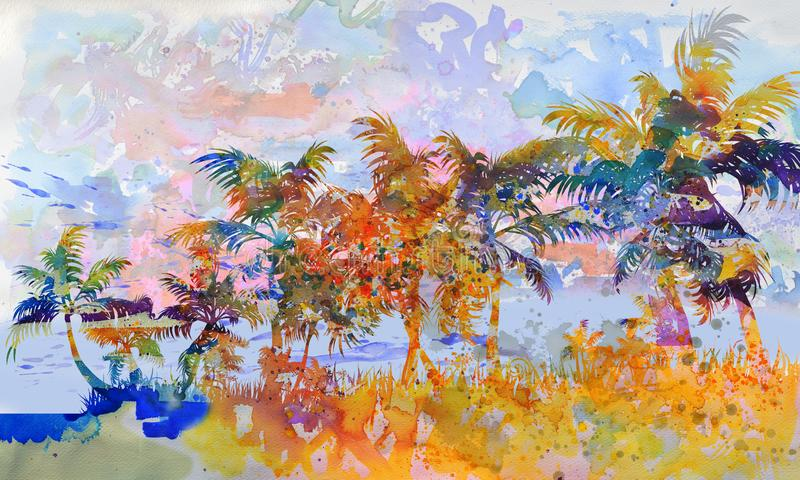 Palm trees and beach at the ocean. Many palm trees and beach at the ocean stock illustration