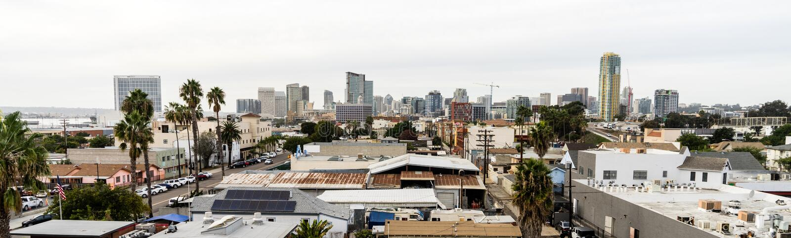 San Diego South End Bario Downtown City Skyline. Palm trees and buildings are dense in the south end of San Diego California stock image