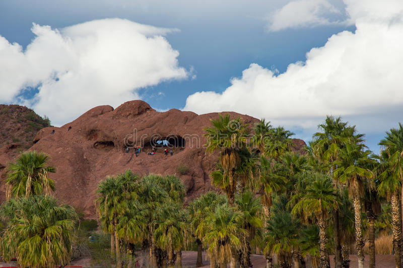 Palm trees and clouds at Papago Park Phoenix Arizona. Papago Park in Phoenix Arizona, popular location after a storm royalty free stock photos
