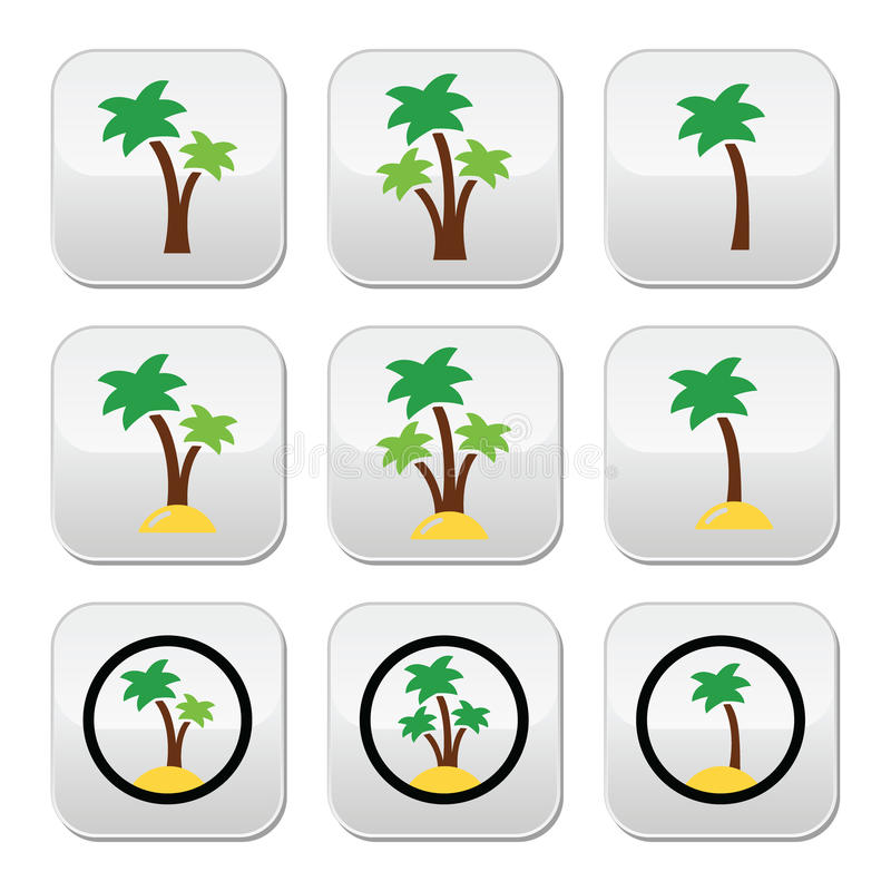 Download Palm Trees, Exotic Holidays On Beach  Colorful Icons Set Stock Illustration - Image: 39769278