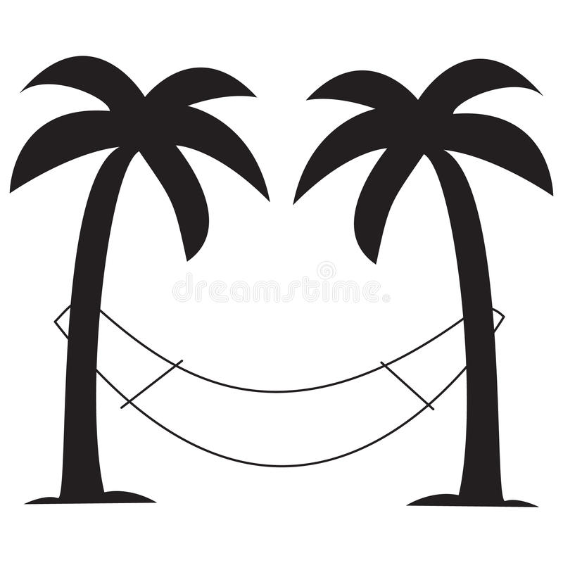 Palm trees with hammock royalty free stock photos