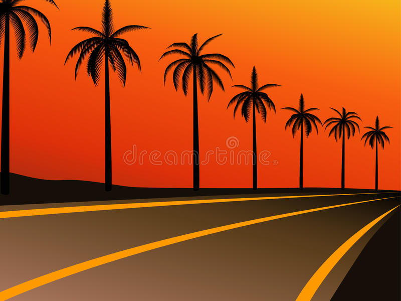 Download Palm trees on the highway stock illustration. Illustration of colour - 9496036