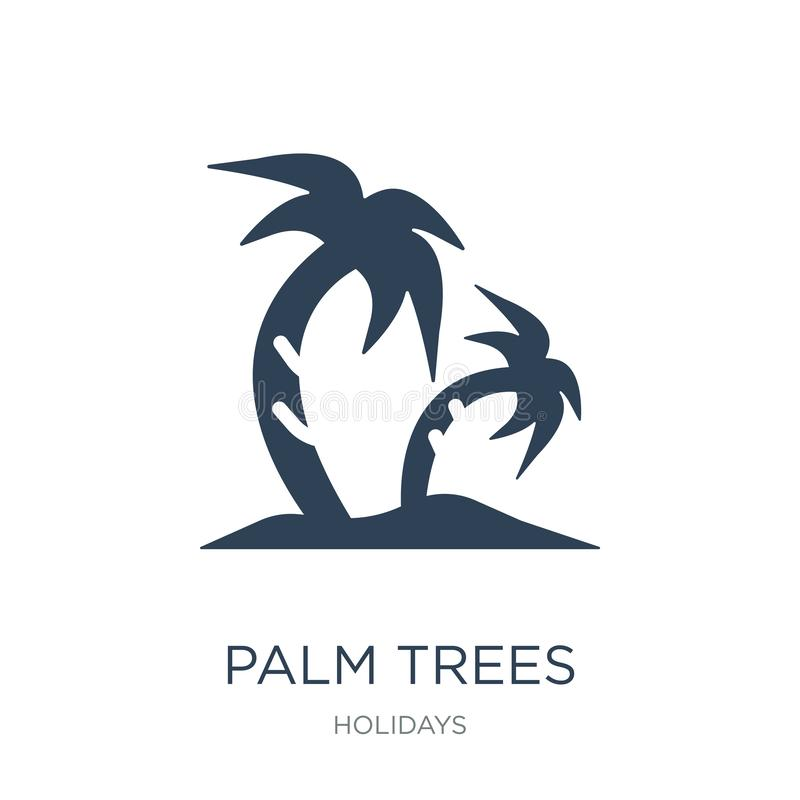 Palm trees icon in trendy design style. palm trees icon isolated on white background. palm trees vector icon simple and modern. Flat symbol for web site, mobile royalty free illustration