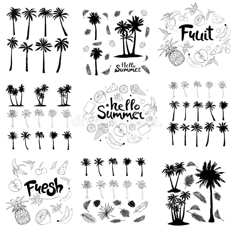 Palm trees icons set. Set of palm tree icons black silhouettes isolated tropical palm trees, branches and individual banana leaves, fruit, pineapple, on white vector illustration