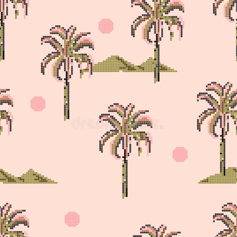 Palm trees and island mountain pixle  in vector illustration. Design for fashion , fabric, web ,wallpaper, wrapping  and all. Palm trees and island mountain royalty free illustration