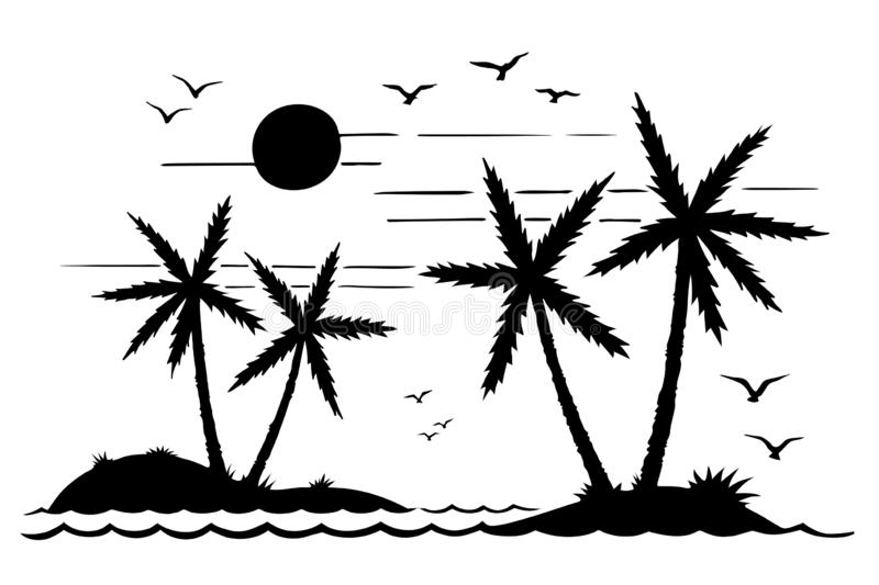 Palm trees on the island and seagulls in the sea silhouette. Island silhouette in the ocean, tourist trip, seagulls, palm trees, sunset. island in the ocean royalty free illustration
