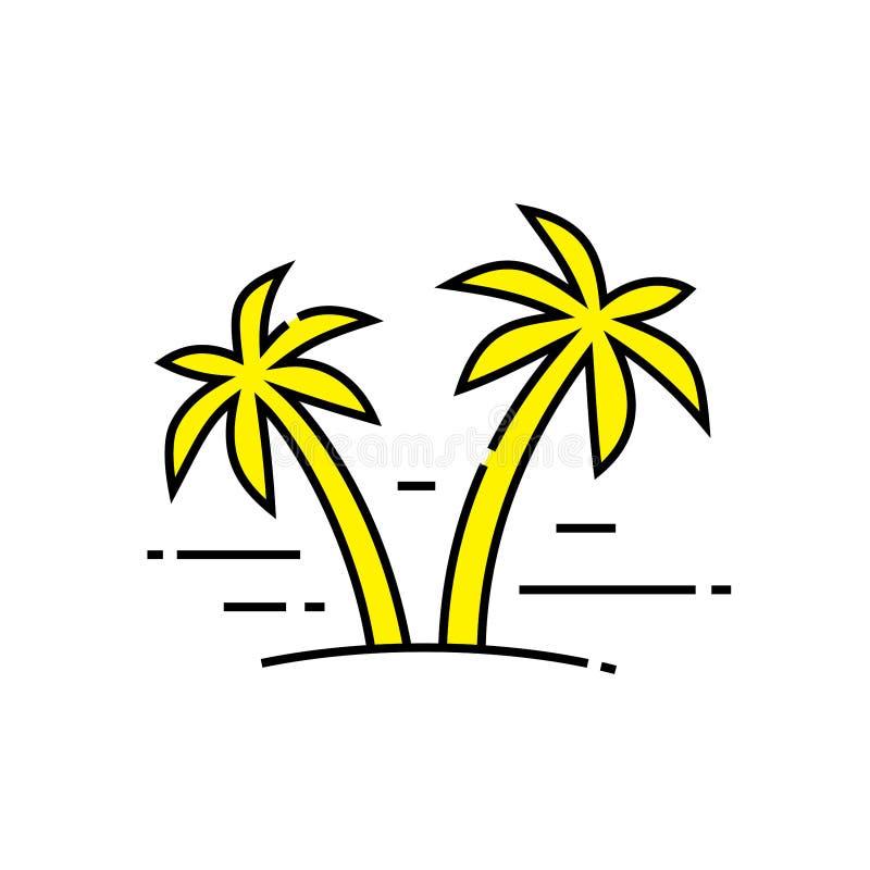 Palm trees line icon. Tropical island symbol. Seaside foliage sign. Exotic coconut plant emblem. Vector illustration vector illustration