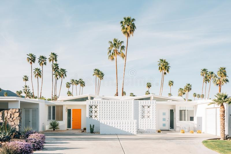 Palm trees and modern house in Palm Springs, California royalty free stock photography