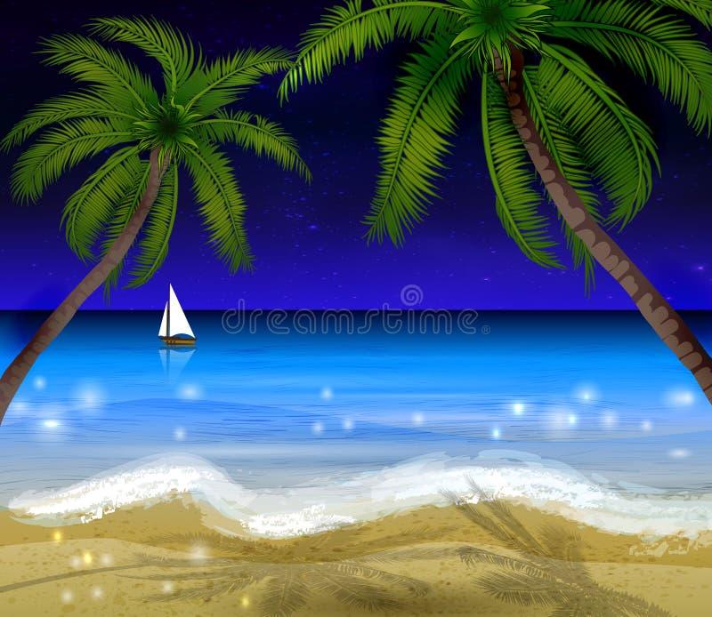 Palm trees at night stock illustration