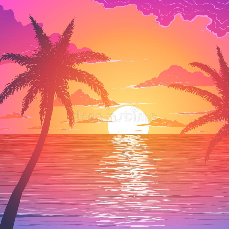 Palm trees on ocean shore at sunset royalty free illustration