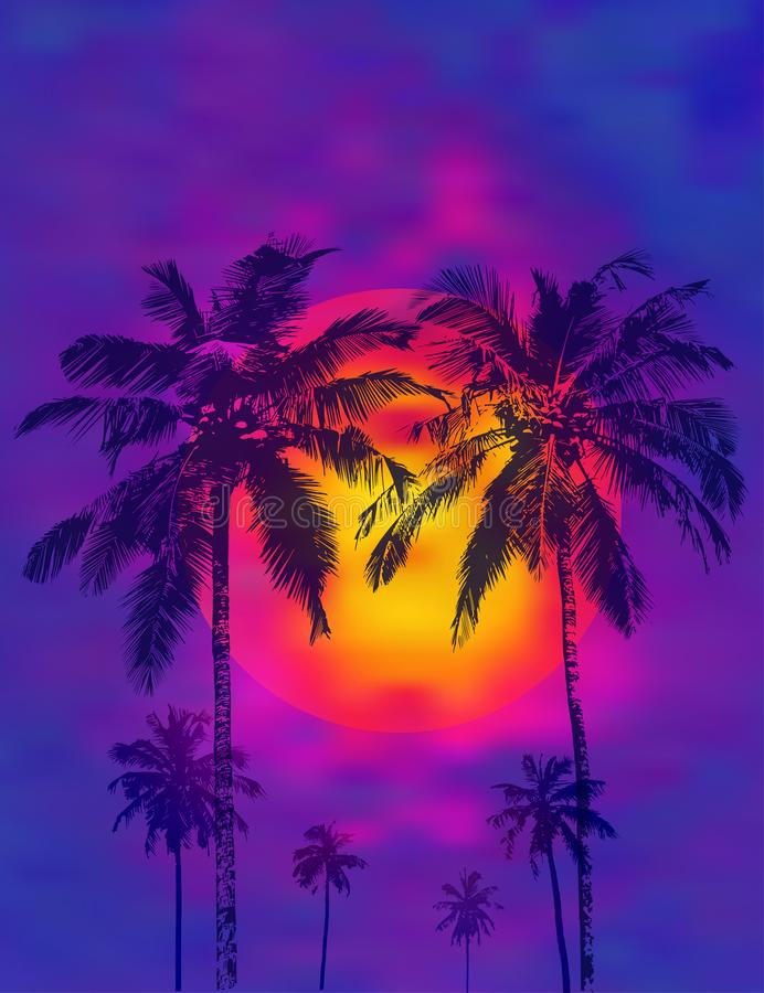 Palm trees on the orange full moon. Dark realistic palms silhouettes against the background of a tropical sunset and full moon. Vector illustration royalty free illustration