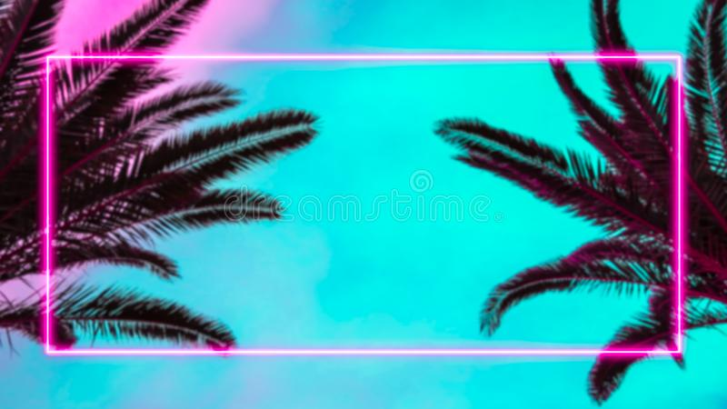 Palm trees and pink neon light frame. stock illustration