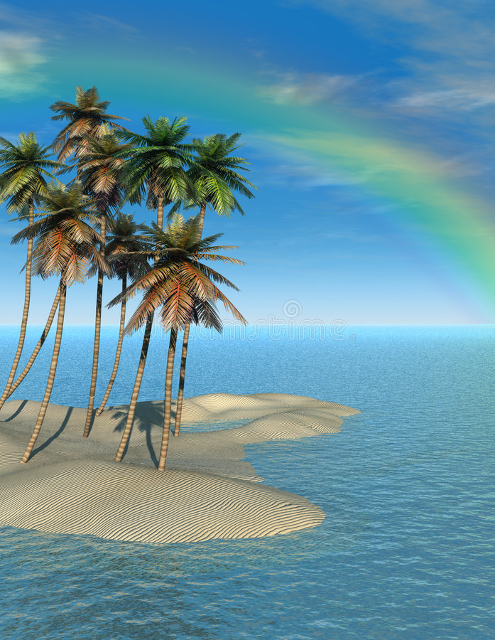 Palm Trees and Rainbow. Quality 3D illustration of coconut palm trees on small sand island. Idyllic and serene blue ocean water, Deep blue sky with wispy clouds royalty free illustration