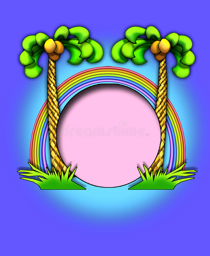 Download Palm trees/rainbow frame stock illustration. Image of grass - 1112575