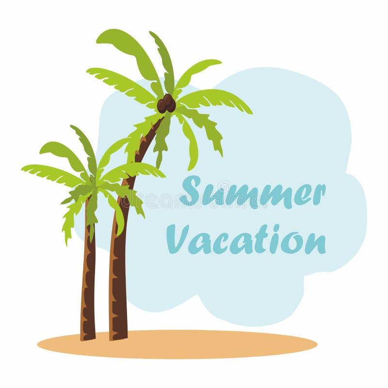 Palm trees on a sandy island. Summer. Vacation Illustration vector illustration