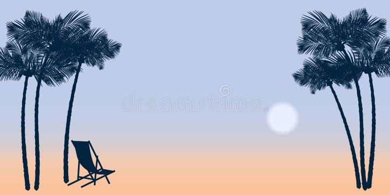 Palm trees on the sea coast. Vector illustration EPS10 stock illustration