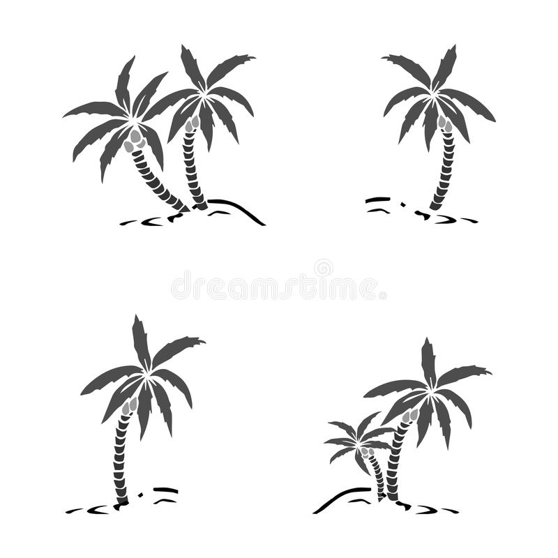 Palm trees silhouette on island. Vector illustration. Tropical exotic plant isolated on background. Modern hipster style apparel,. Poster, brochure design stock illustration