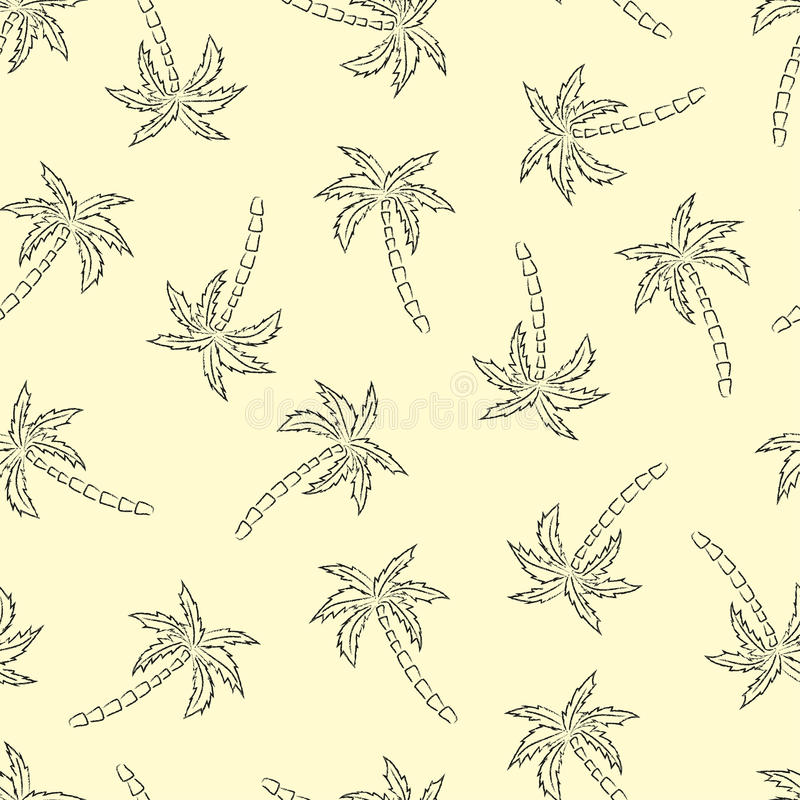 Palm trees silhouette print. Vector seamless pattern with tropical plants royalty free illustration