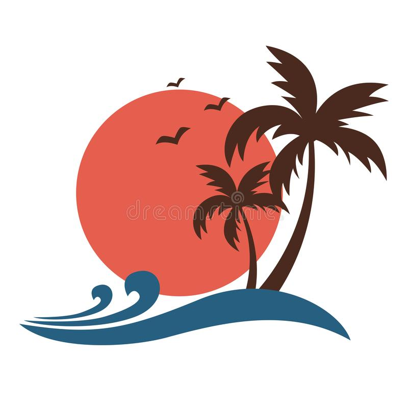 Palm trees silhouette with sun and ocean waves. Vintage style palm trees silhouette with sun and ocean waves stock illustration