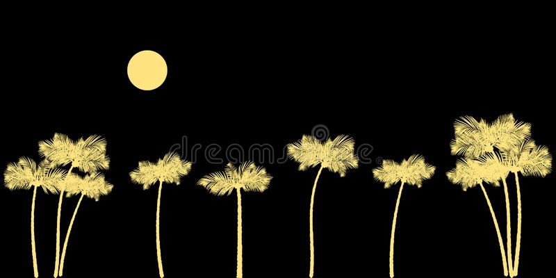 Palm tree on the sea coast at sunset. Palm trees silhouette at sunset background. Vector illustration EPS10 royalty free illustration