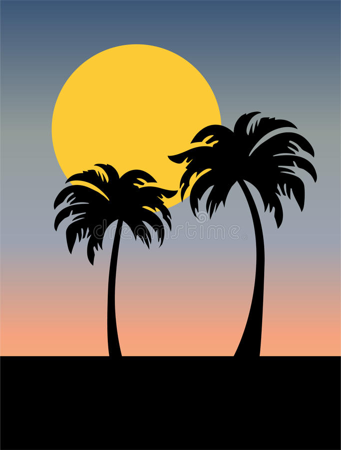 Palm trees silhouette with sunset. Vector graphic stock illustration