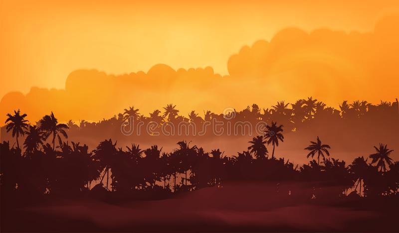 Palm trees silhouettes in yellow fog, tropic forest in sunset light vector illustration for banner background.  stock illustration