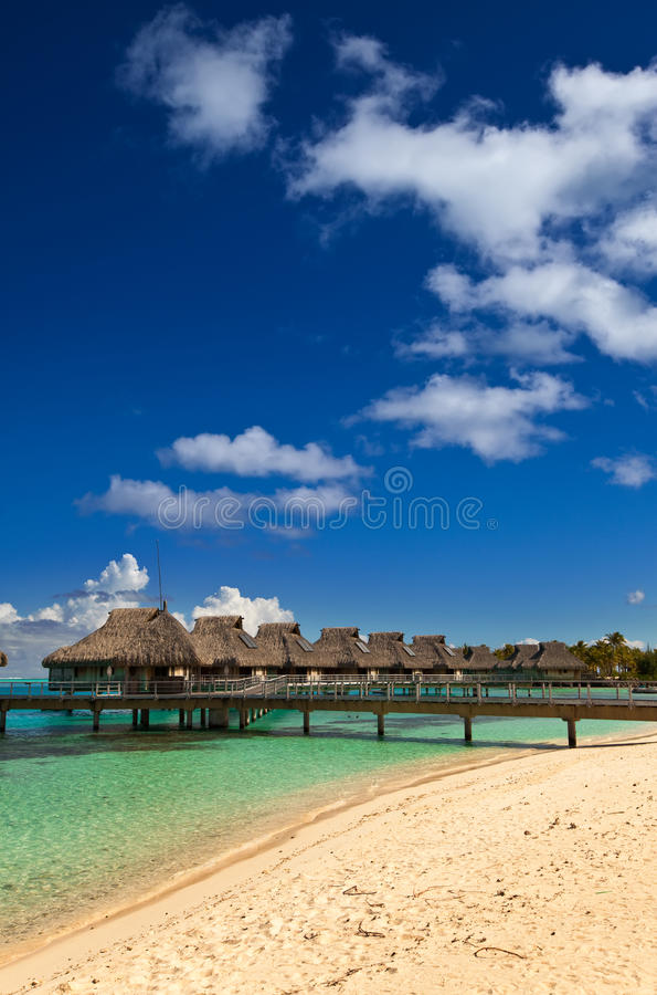 Download Palm Trees And Small Houses On Water.Polynesia Stock Photo - Image of house, maldives: 22364862