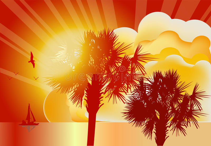 Download Palm Trees And Small Ship At Sunset Stock Vector - Illustration: 20231361