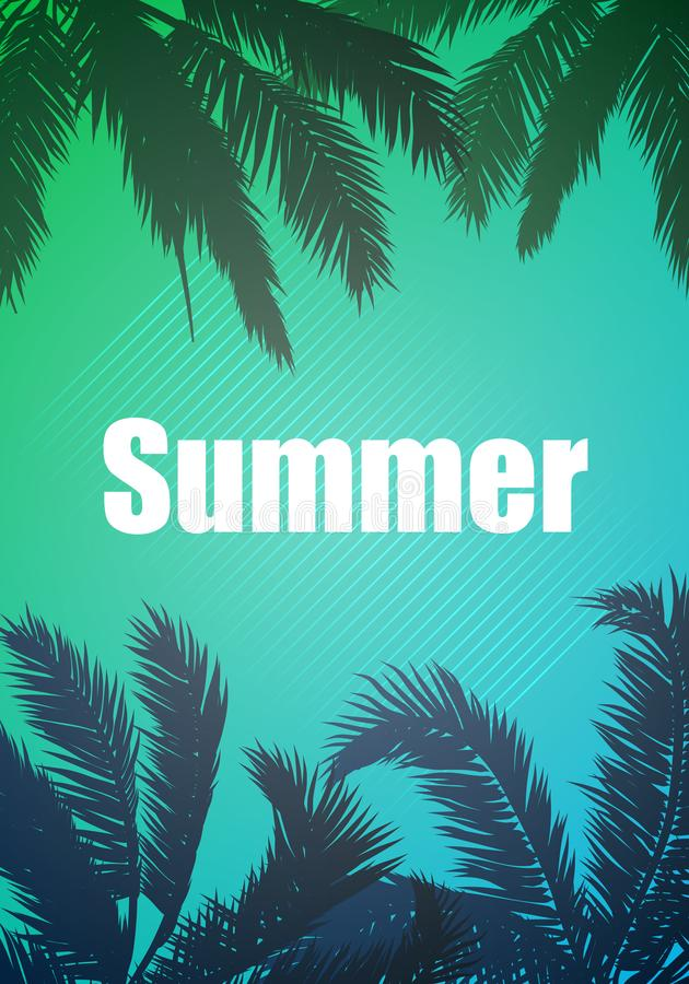 Palm trees by the summer on an abstract green blue background royalty free illustration
