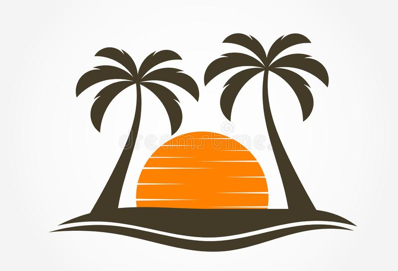 Palm trees and sun setting over island. Vector illustration stock illustration