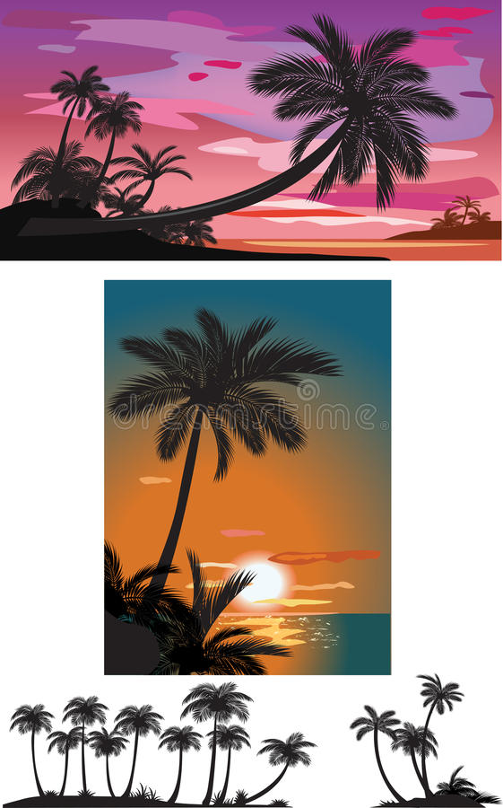 Download Palm trees at sunset stock vector. Image of branch, nature - 19664803
